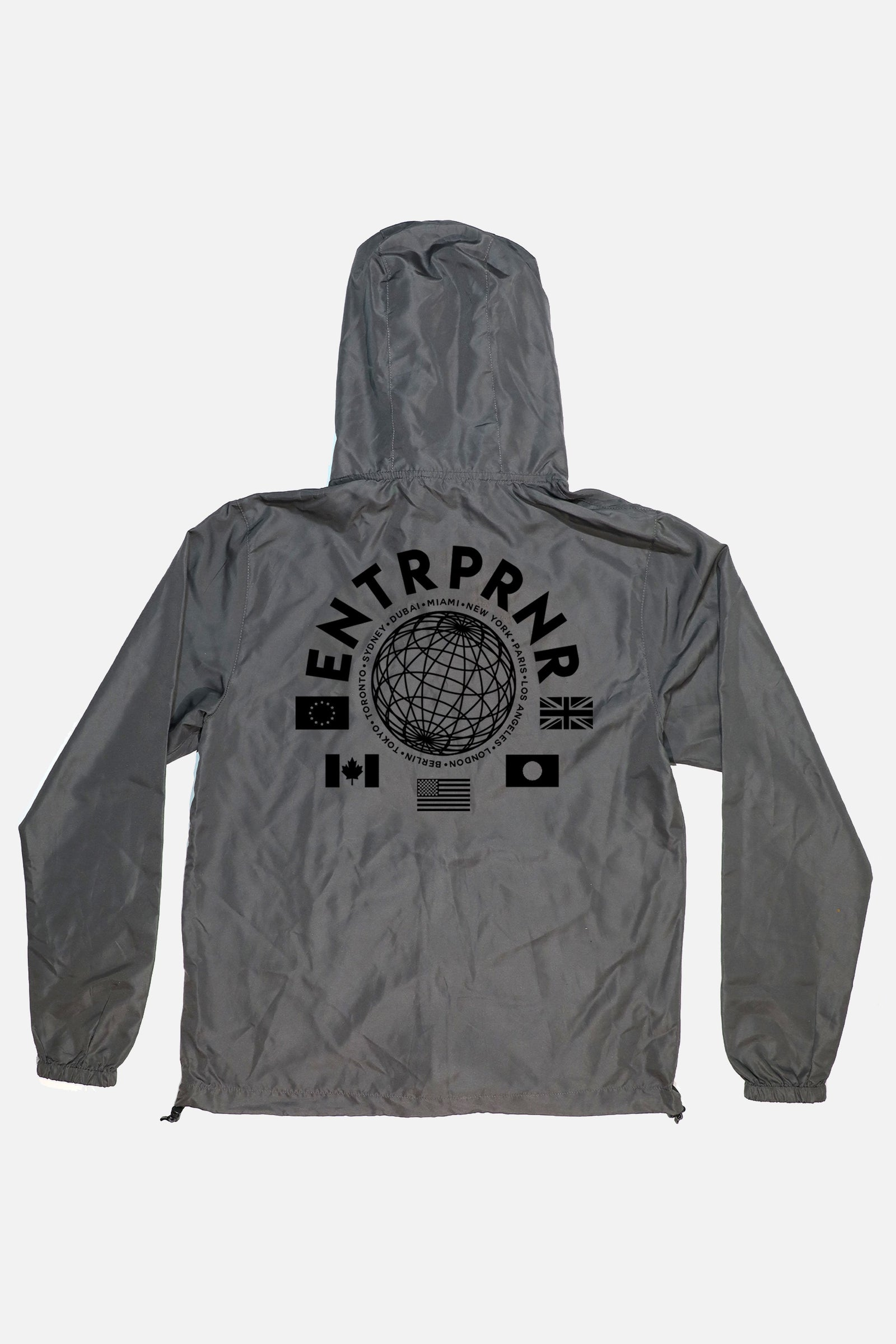 ENTRPRNR Worldwide Windbreaker - Graphite - ENTRPRNR® | The Entrepreneur's Clothing Brand. | Stagnancy is the Enemy. Action is King.