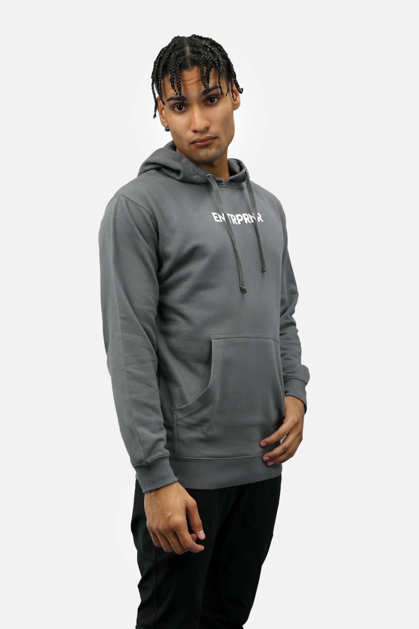 Logo ENTRPRNR Hoodie - Charcoal - ENTRPRNR® | The Entrepreneur's Clothing Brand. | Stagnancy is the Enemy. Action is King.