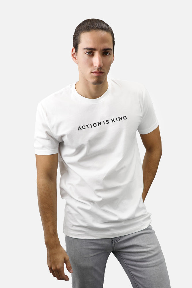 Action is King ENTRPRNR Tee - White - ENTRPRNR® | The Entrepreneur's Clothing Brand. | Stagnancy is the Enemy. Action is King.