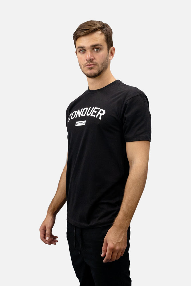Conquer ENTRPRNR Tee – Black - ENTRPRNR® | The Entrepreneur's Clothing Brand. | Stagnancy is the Enemy. Action is King.