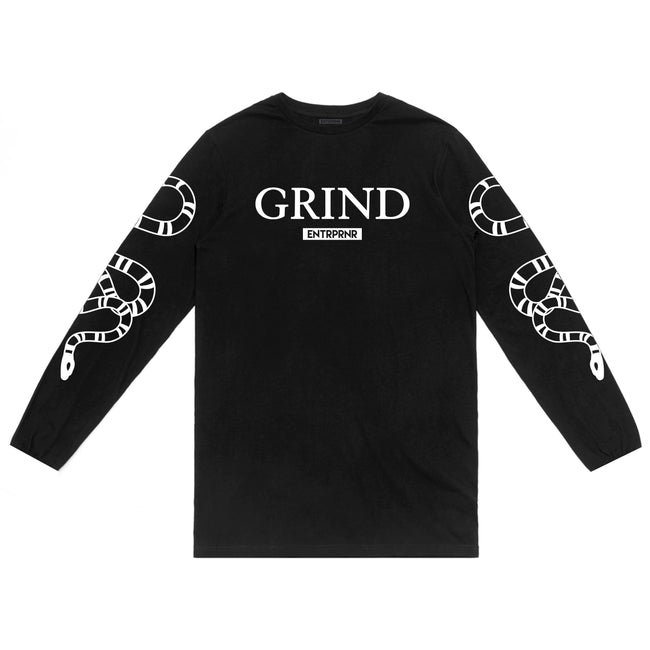 ENTRPRNR Grind Long Sleeve - Black - ENTRPRNR® | The Entrepreneur's Clothing Brand. | Stagnancy is the Enemy. Action is King.