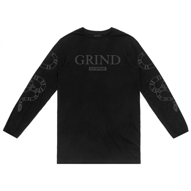 ENTRPRNR Grind Long Sleeve - Blackout - ENTRPRNR® | The Entrepreneur's Clothing Brand. | Stagnancy is the Enemy. Action is King.