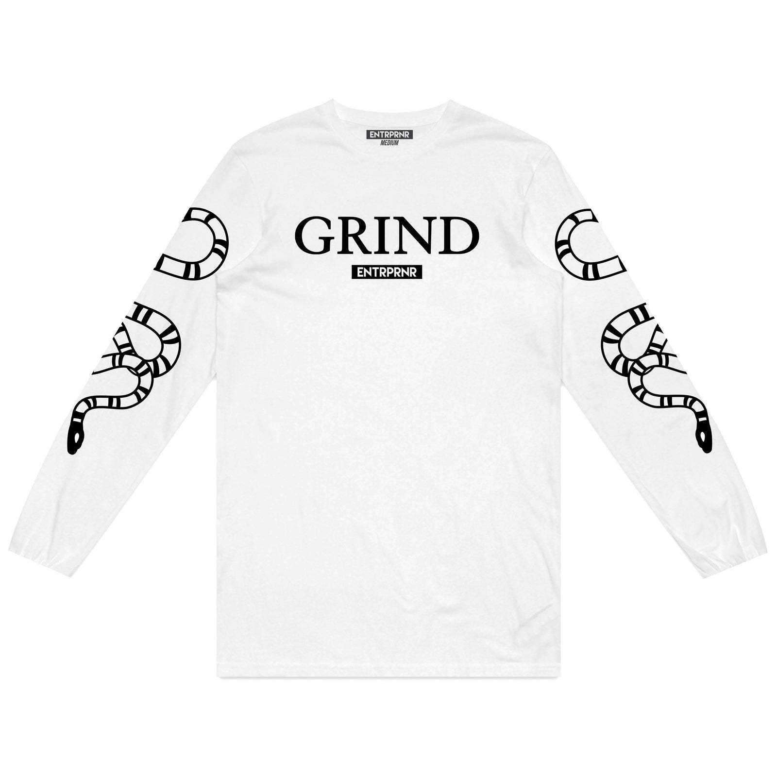 ENTRPRNR Grind Long Sleeve - White - ENTRPRNR® | The Entrepreneur's Clothing Brand. | Stagnancy is the Enemy. Action is King.