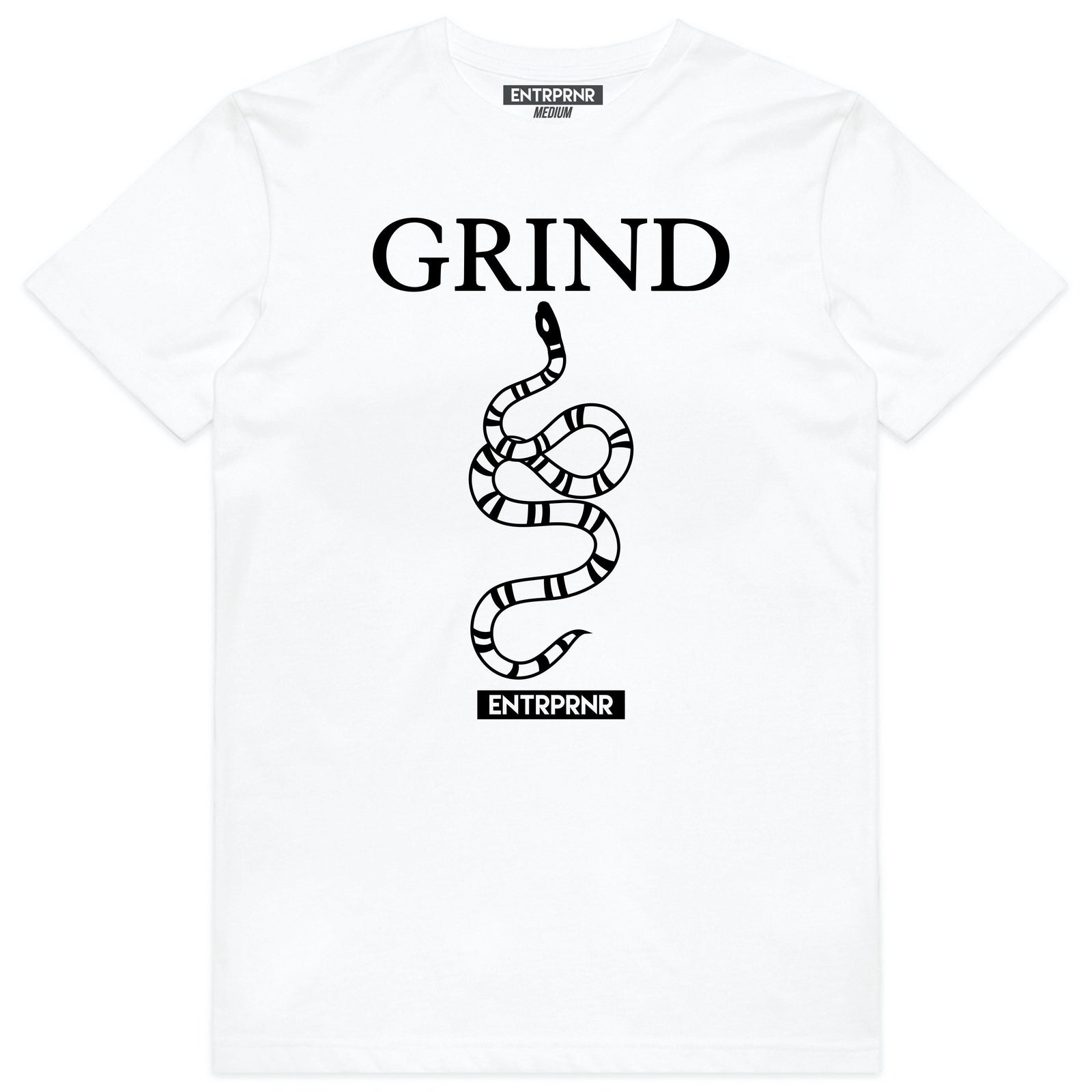 ENTRPRNR Grind Tee - White - ENTRPRNR® | The Entrepreneur's Clothing Brand. | Stagnancy is the Enemy. Action is King.