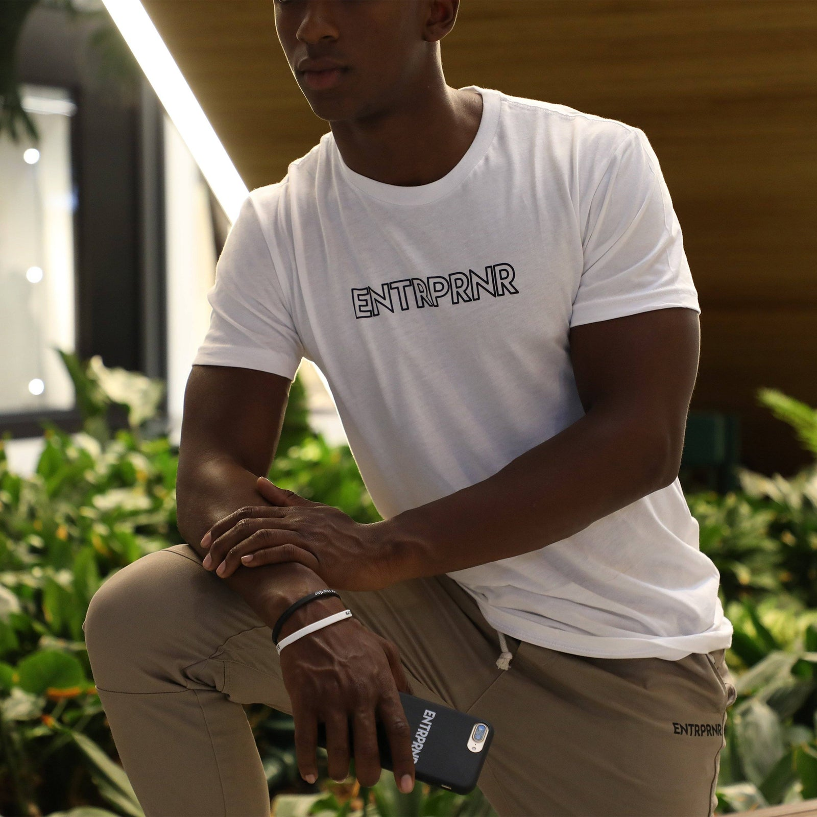 ENTRPRNR Hollow Logo Tee - White - ENTRPRNR® | The Entrepreneur's Clothing Brand. | Stagnancy is the Enemy. Action is King.