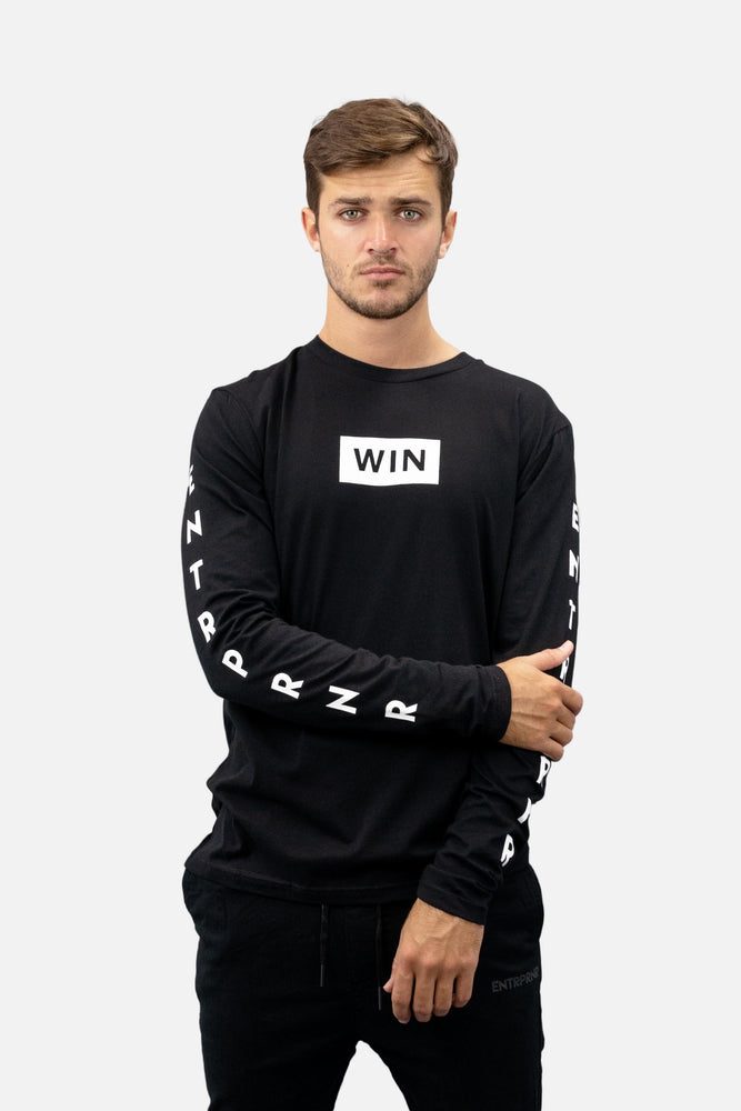 ENTRPRNR WIN Long Sleeve - Black - ENTRPRNR® | The Entrepreneur's Clothing Brand. | Stagnancy is the Enemy. Action is King.