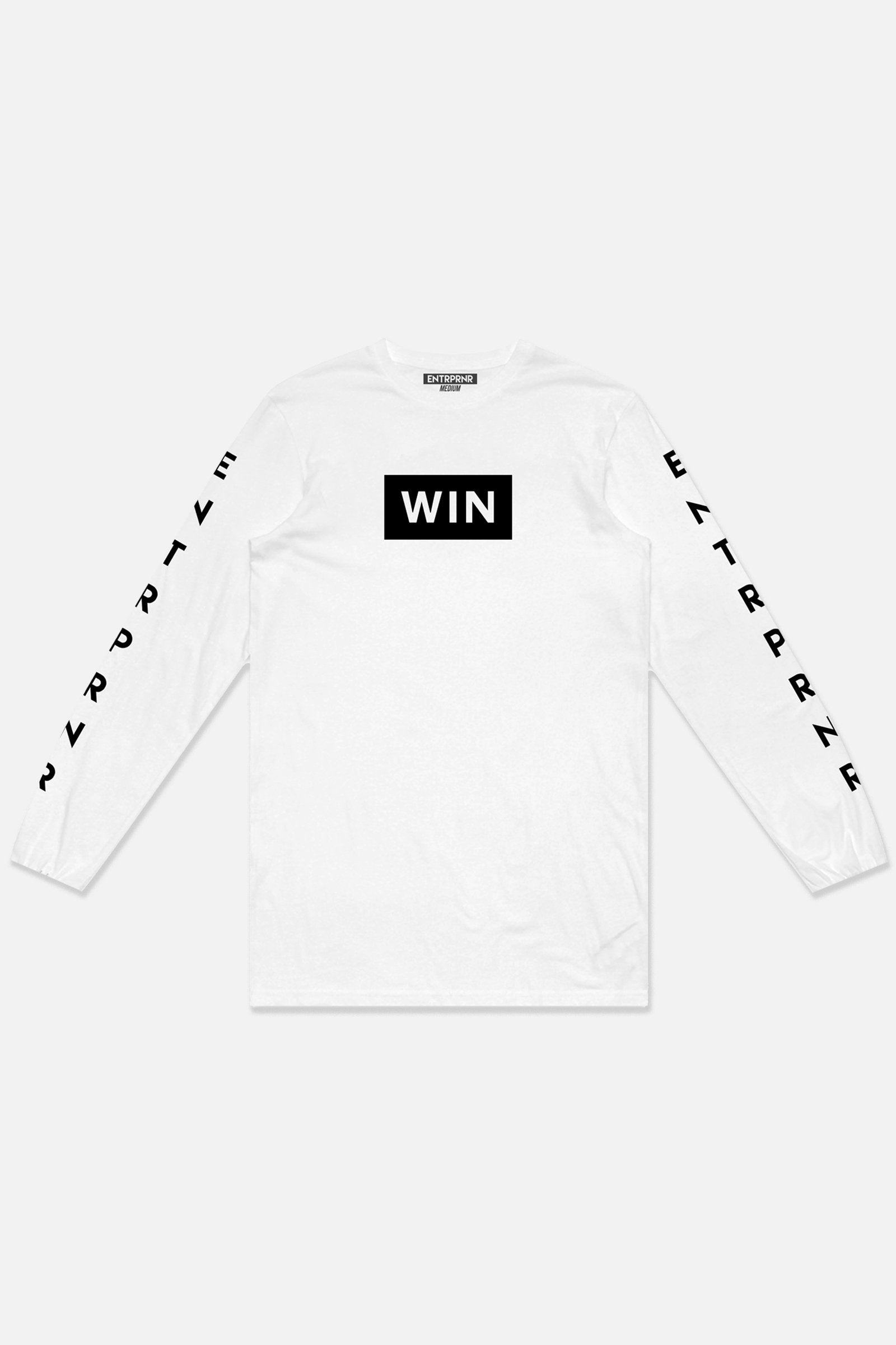 ENTRPRNR WIN Long Sleeve - White - ENTRPRNR® | The Entrepreneur's Clothing Brand. | Stagnancy is the Enemy. Action is King.