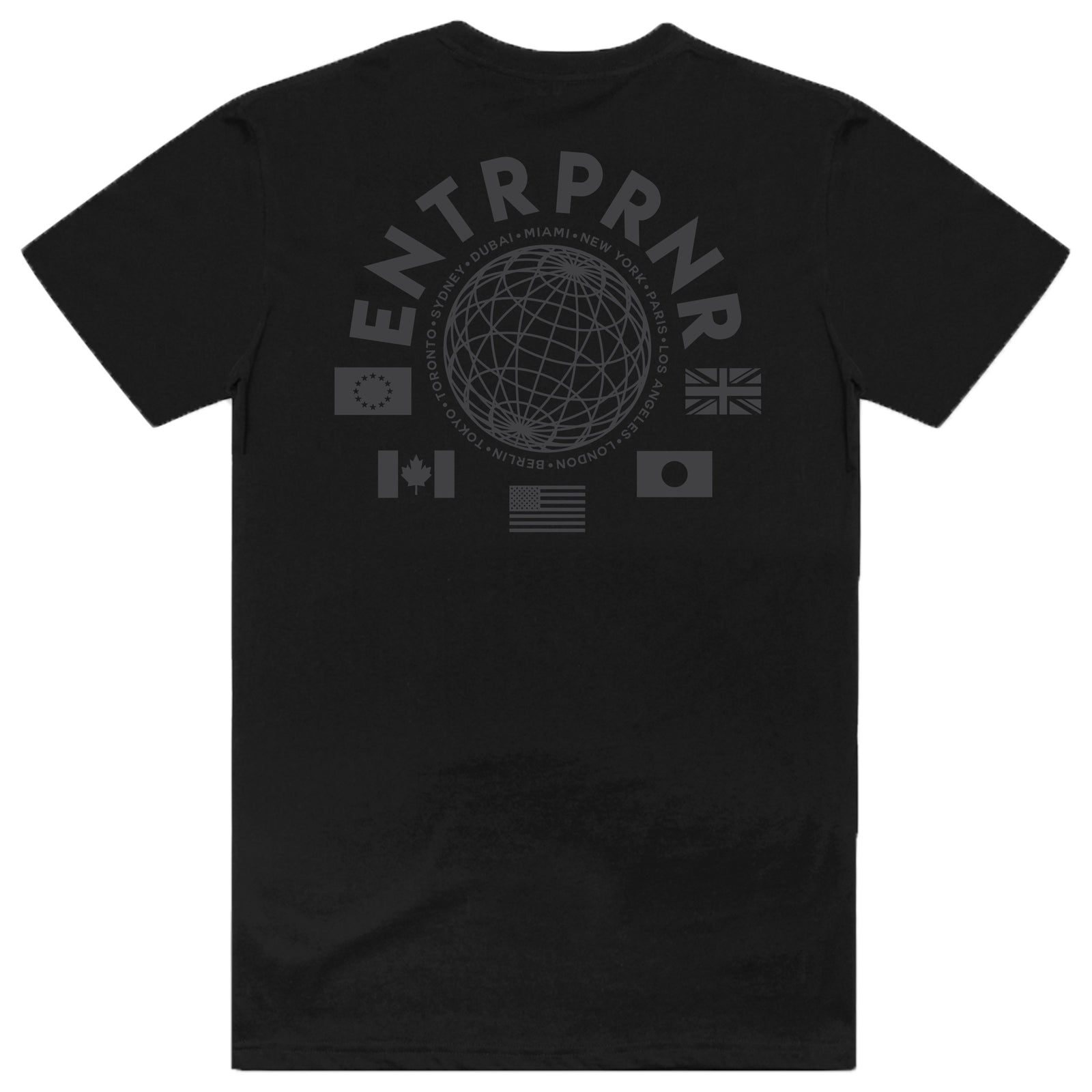 ENTRPRNR WorldWide Tee - Blackout - ENTRPRNR® | The Entrepreneur's Clothing Brand. | Stagnancy is the Enemy. Action is King.