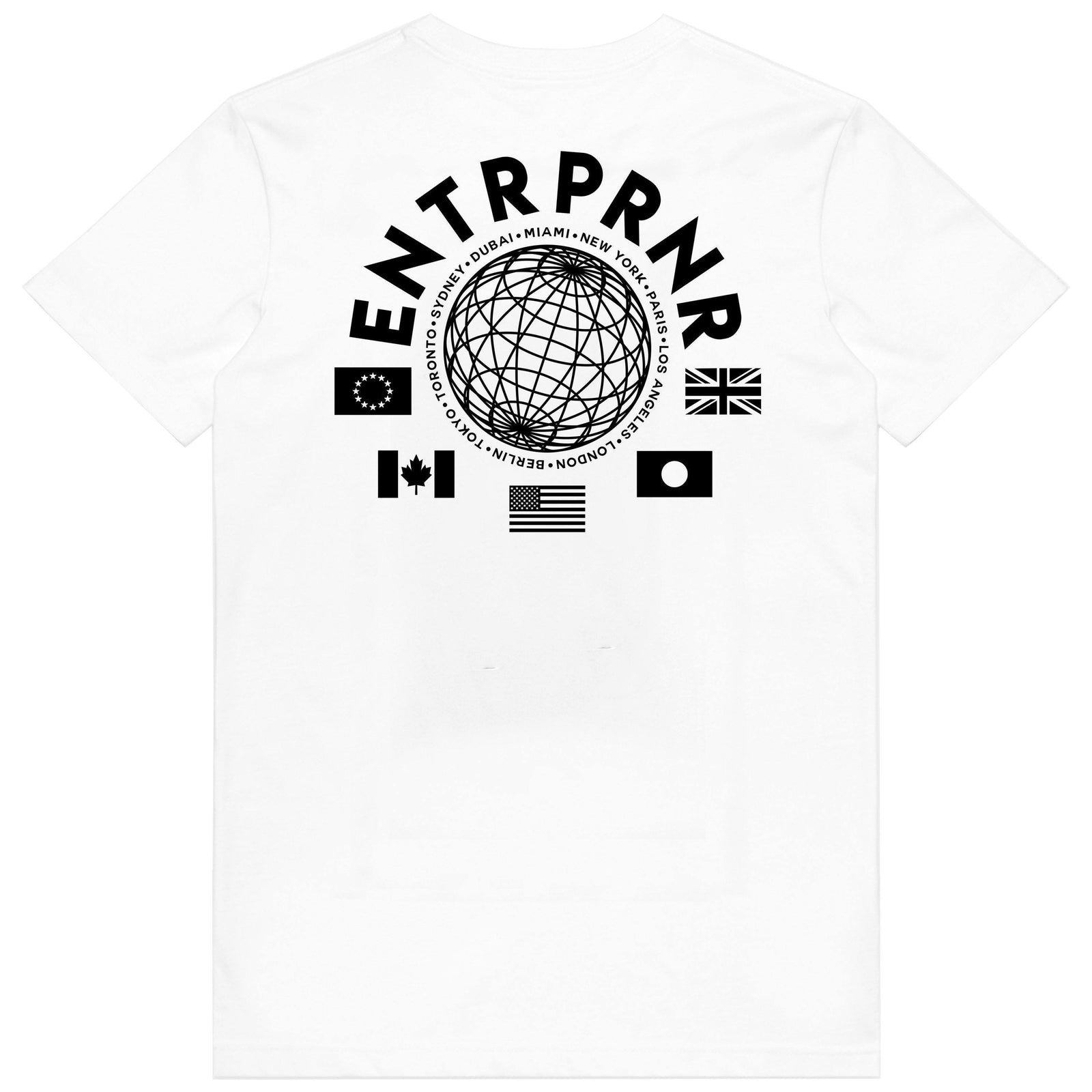 ENTRPRNR WorldWide Tee - White - ENTRPRNR® | The Entrepreneur's Clothing Brand. | Stagnancy is the Enemy. Action is King.