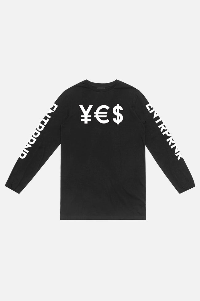 ENTRPRNR YES Long Sleeve - Black - ENTRPRNR® | The Entrepreneur's Clothing Brand. | Stagnancy is the Enemy. Action is King.