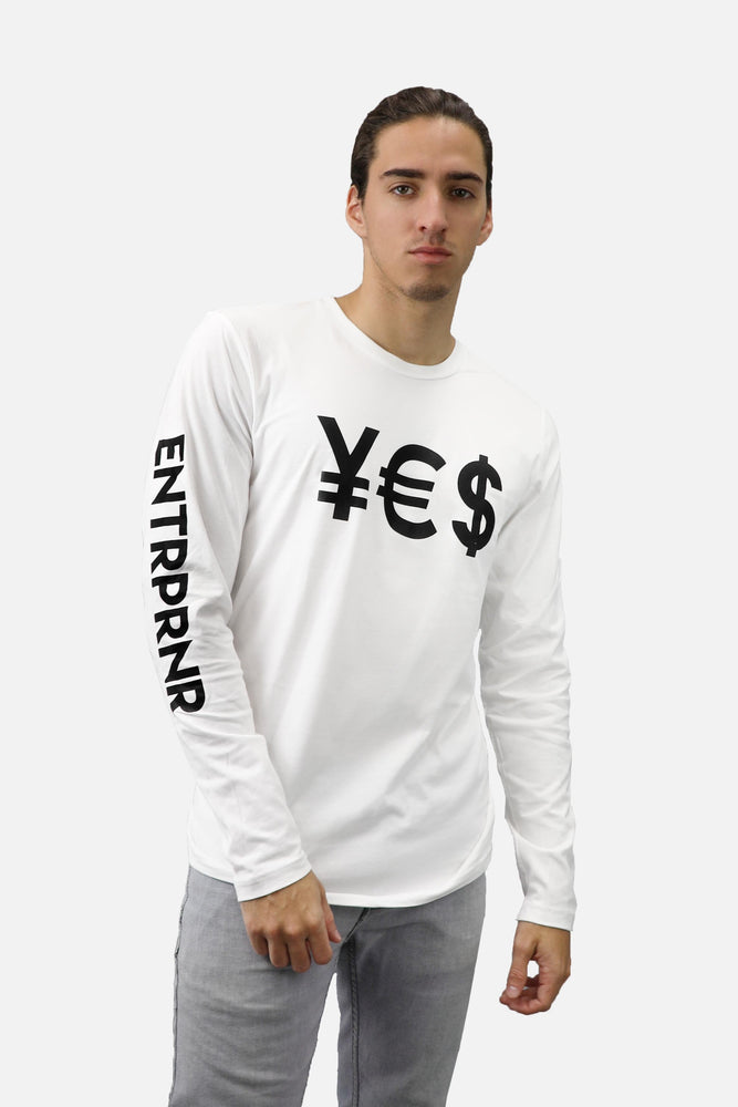 ENTRPRNR YES Long Sleeve - White - ENTRPRNR® | The Entrepreneur's Clothing Brand. | Stagnancy is the Enemy. Action is King.