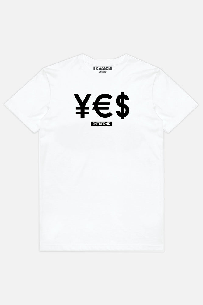 ENTRPRNR YES Tee - White - ENTRPRNR® | The Entrepreneur's Clothing Brand. | Stagnancy is the Enemy. Action is King.
