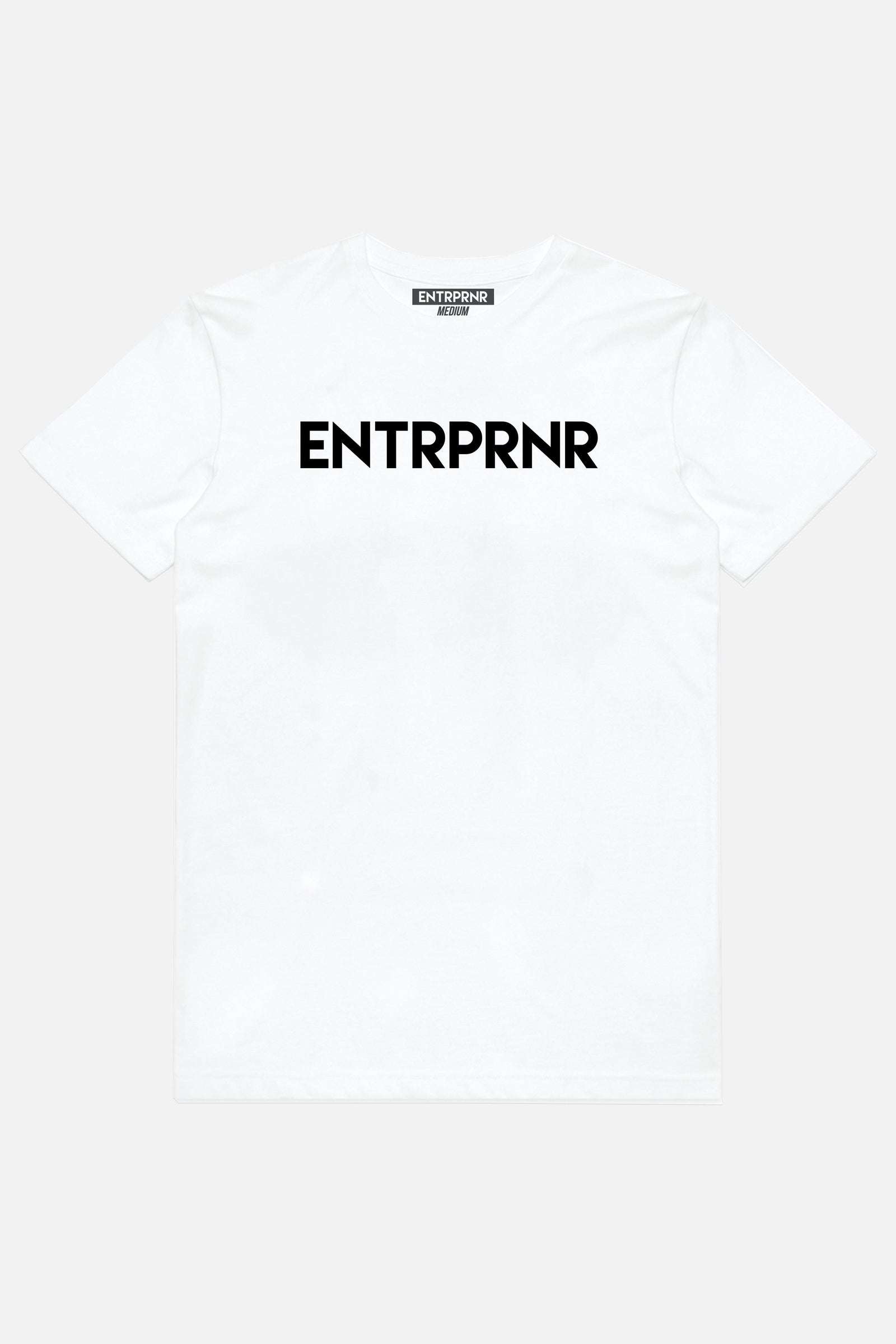 Logo ENTRPRNR Tee - White - ENTRPRNR® | The Entrepreneur's Clothing Brand. | Stagnancy is the Enemy. Action is King.