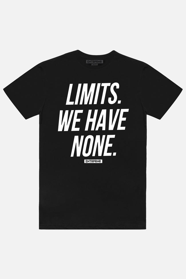 No Limits ENTRPRNR Tee - Black - ENTRPRNR® | The Entrepreneur's Clothing Brand. | Stagnancy is the Enemy. Action is King.
