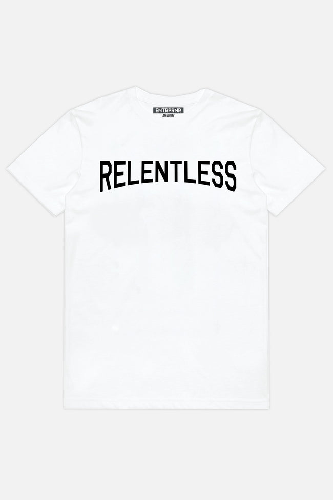 Relentless ENTRPRNR Tee - White - ENTRPRNR® | The Entrepreneur's Clothing Brand. | Stagnancy is the Enemy. Action is King.