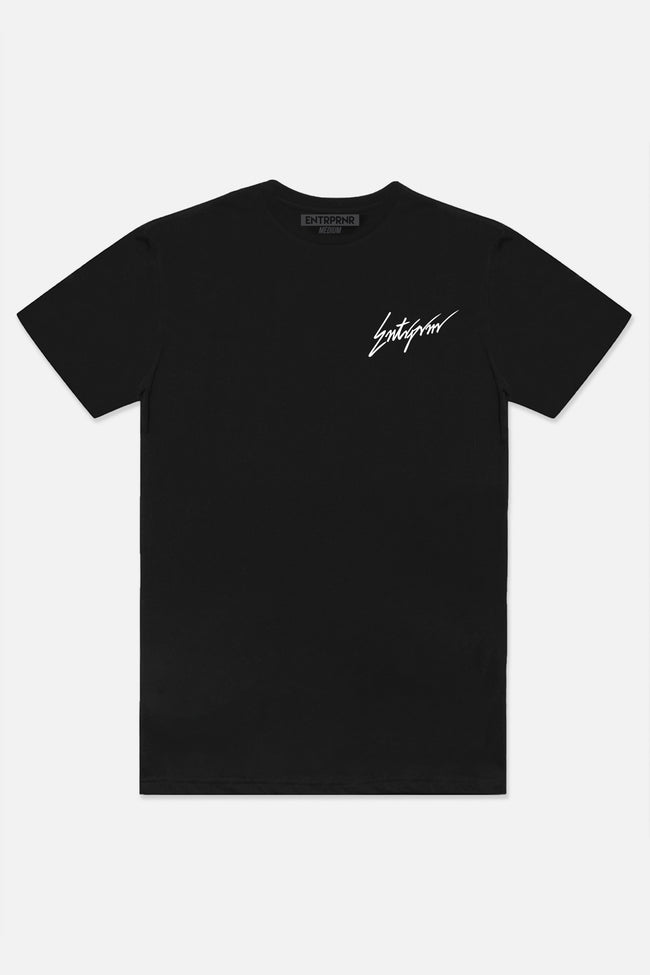 Script Tee - Black - ENTRPRNR® | The Entrepreneur's Clothing Brand. | Stagnancy is the Enemy. Action is King.