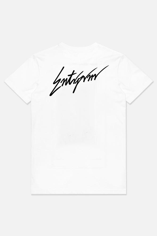Script Tee - White - ENTRPRNR® | The Entrepreneur's Clothing Brand. | Stagnancy is the Enemy. Action is King.
