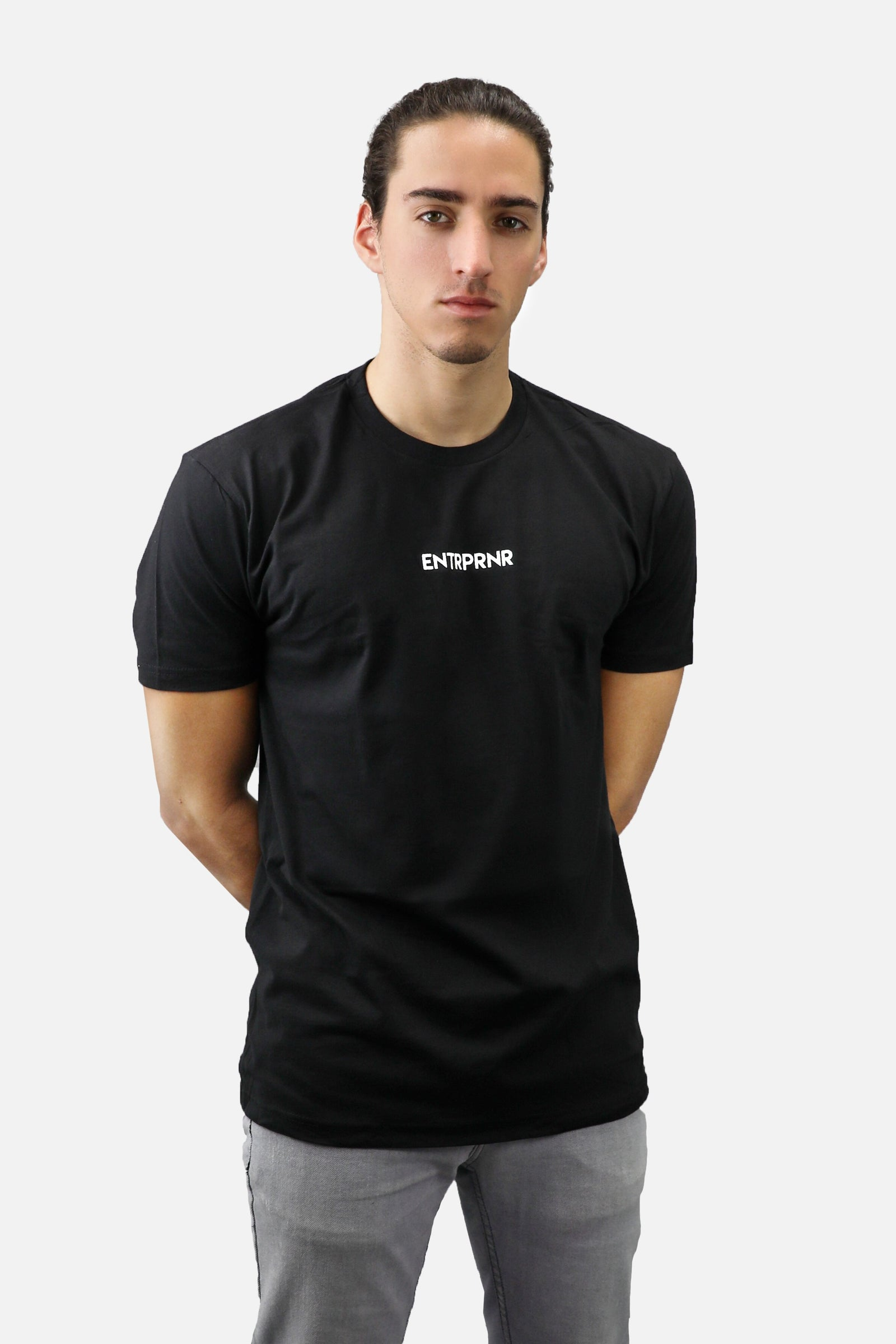 Tiny Logo ENTRPRNR Tee - Black - ENTRPRNR® | The Entrepreneur's Clothing Brand. | Stagnancy is the Enemy. Action is King.
