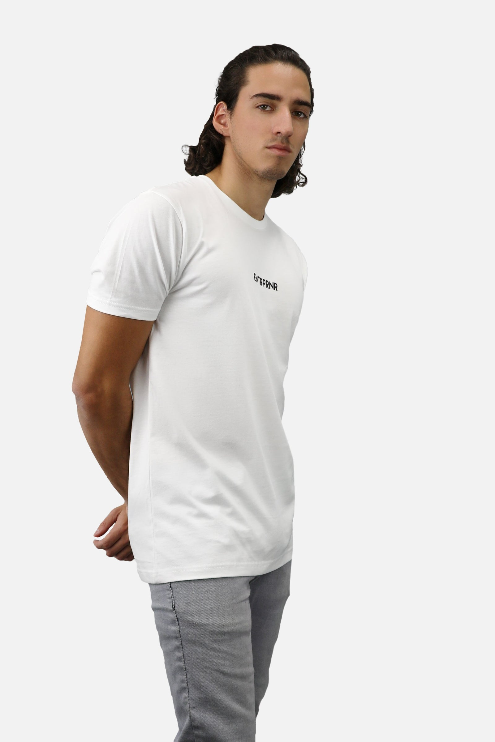 Tiny Logo ENTRPRNR Tee – White - ENTRPRNR® | The Entrepreneur's Clothing Brand. | Stagnancy is the Enemy. Action is King.