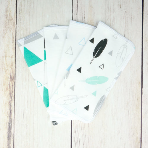 Feathers + Triangles Organic Reusable Wipes (Set of 4) - Black / Gray / Teal / Mint - CAVU Creations