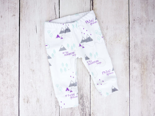 PNW Organic Baby Leggings - Purple / Mint / Gray / White - CAVU Creations
