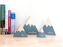 "Wooden Mountain Set - Charcoal Gray - ""The Mountains Are Calling"""