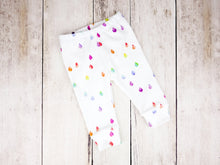 Rain Drops Organic Baby Leggings - Rainbow Prismatic on White - CAVU Creations