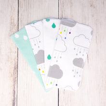 Clouds + Rain Organic Reusable Wipes (Set of 4) - Rainbow / Gray / Teal / Mint - CAVU Creations