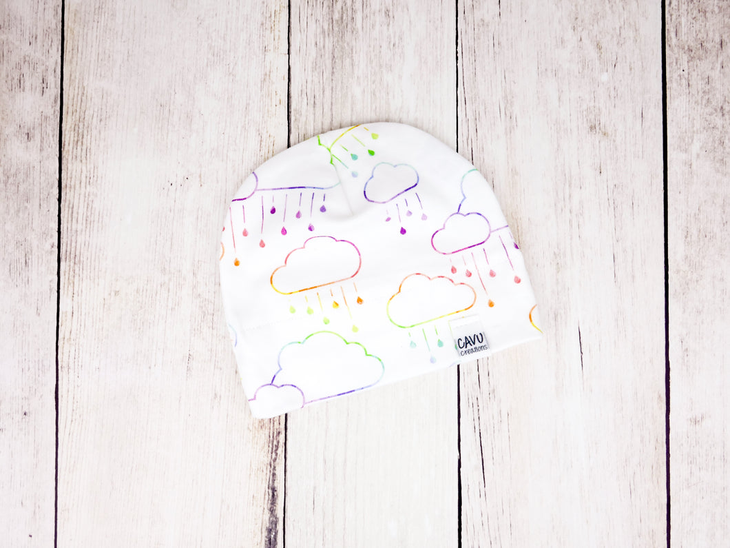 Clouds + Rain Organic Beanie - Rainbow Prismatic on White - CAVU Creations