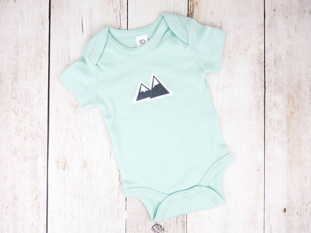 Mountains Organic Bodysuit - Mint / Charcoal Gray (Short) - CAVU Creations