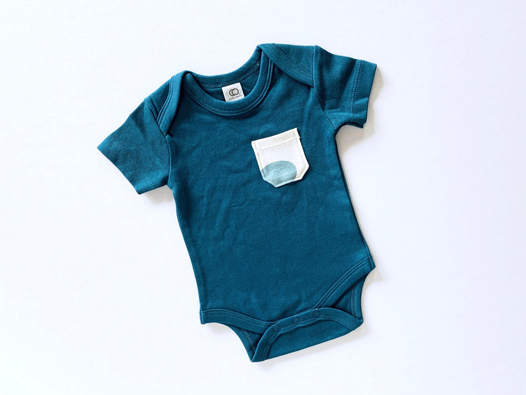 Pop Dots Pocket Organic Bodysuit - Marine Blue / Multi - CAVU Creations