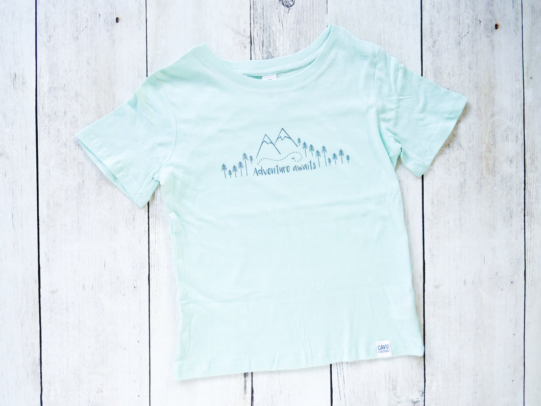 Adventure Awaits Organic Tee - Mint / Gray - CAVU Creations