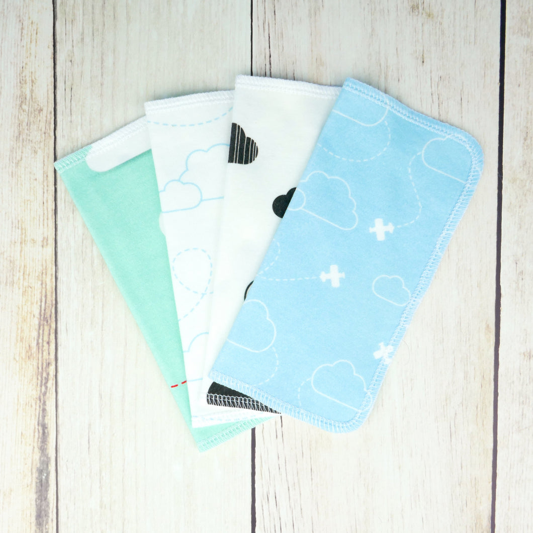 Airplanes and Clouds Organic Reusable Wipes (Set of 4) - Aqua / Mint / Black - CAVU Creations