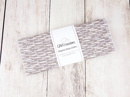 Fish Organic Burp Cloths (Set of 2) - White / Blue / Gray - CAVU Creations