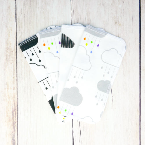 Clouds + Rain Organic Reusable Wipes (Set of 4) - Rainbow / Gray / White / Black - CAVU Creations