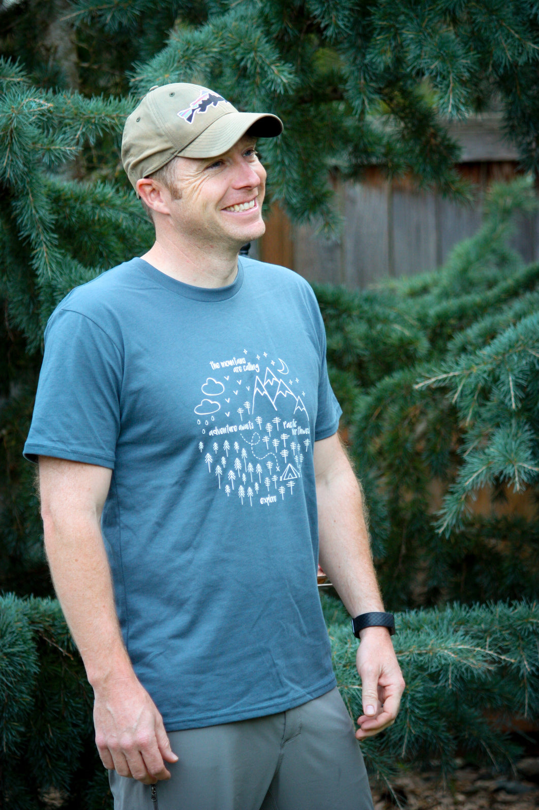 Adult Tee - Pacific Northwest Circle - Navy / White - CAVU Creations