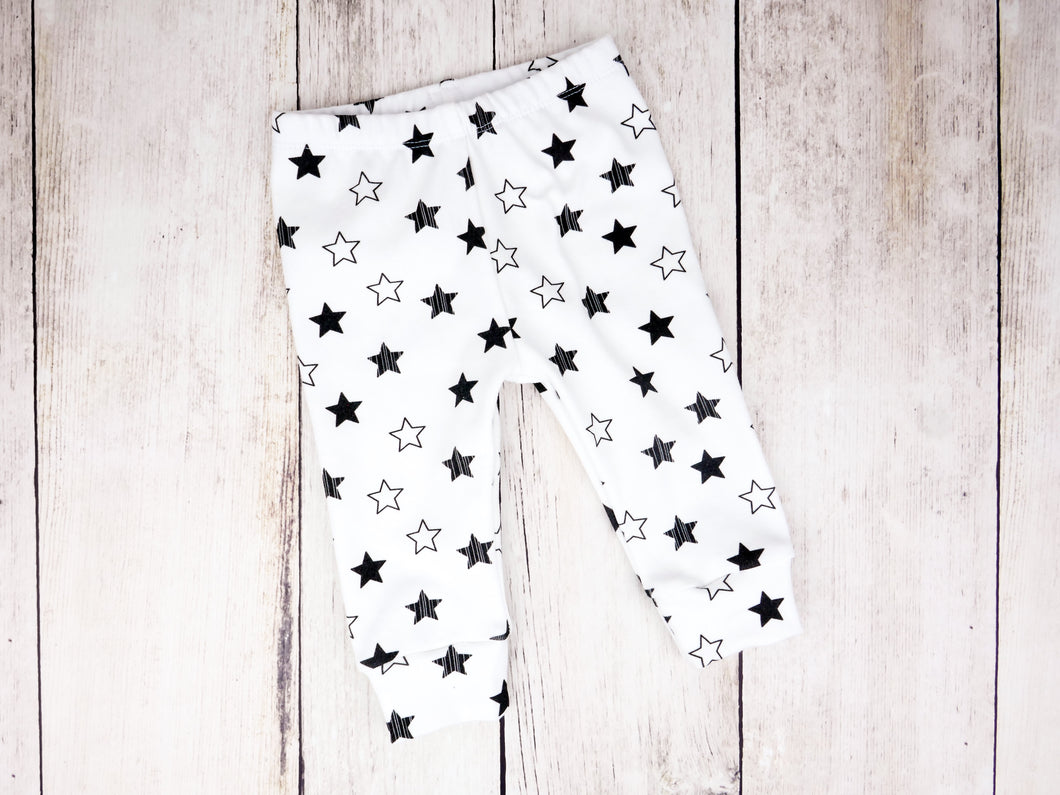 Stars Organic Baby Leggings - Black / White - CAVU Creations