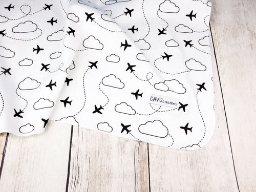 Jets in Clouds Organic Swaddling Blanket - Black / White - CAVU Creations