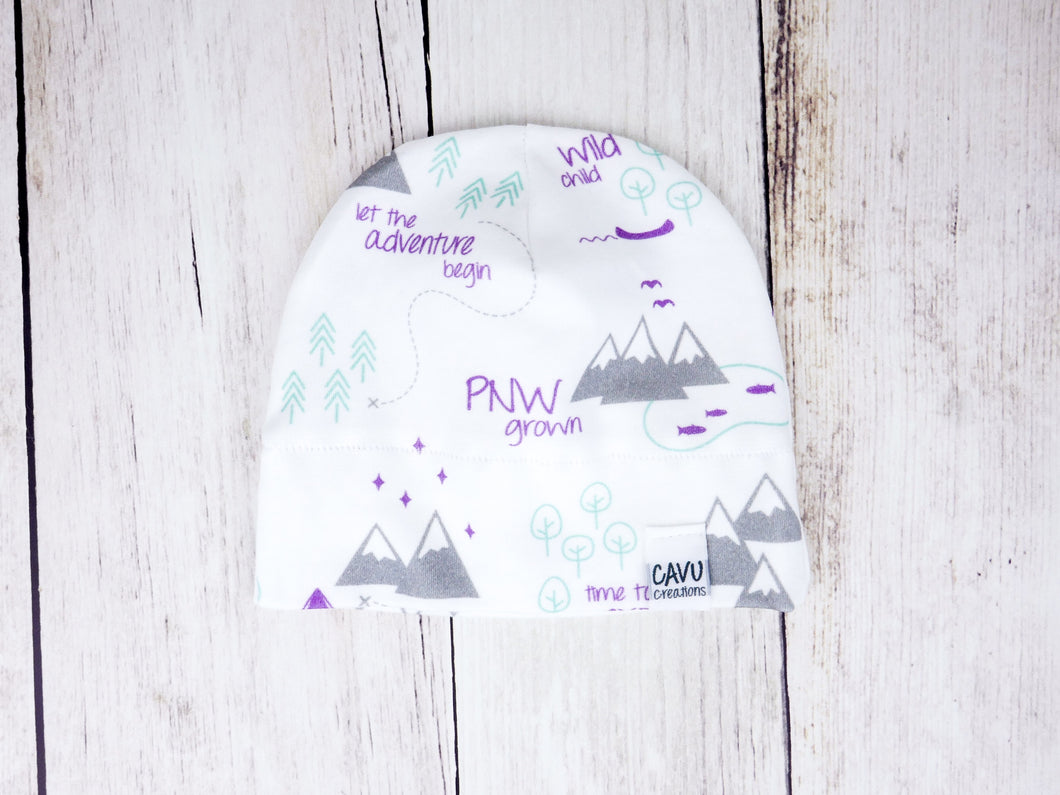 PNW Organic Beanie - Purple / Mint / Gray / White - CAVU Creations
