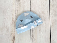 Jets in Clouds Organic Beanie - Gray / White / Sky Blue - CAVU Creations