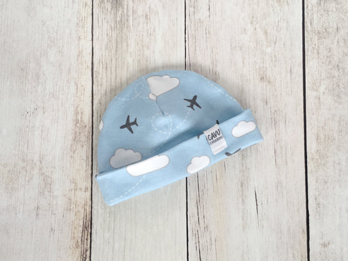 Jets in Clouds Organic Beanie - Gray / White / Sky Blue