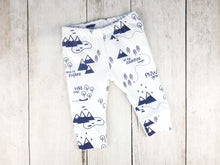PNW Organic Baby Leggings - Navy Blue / White - CAVU Creations