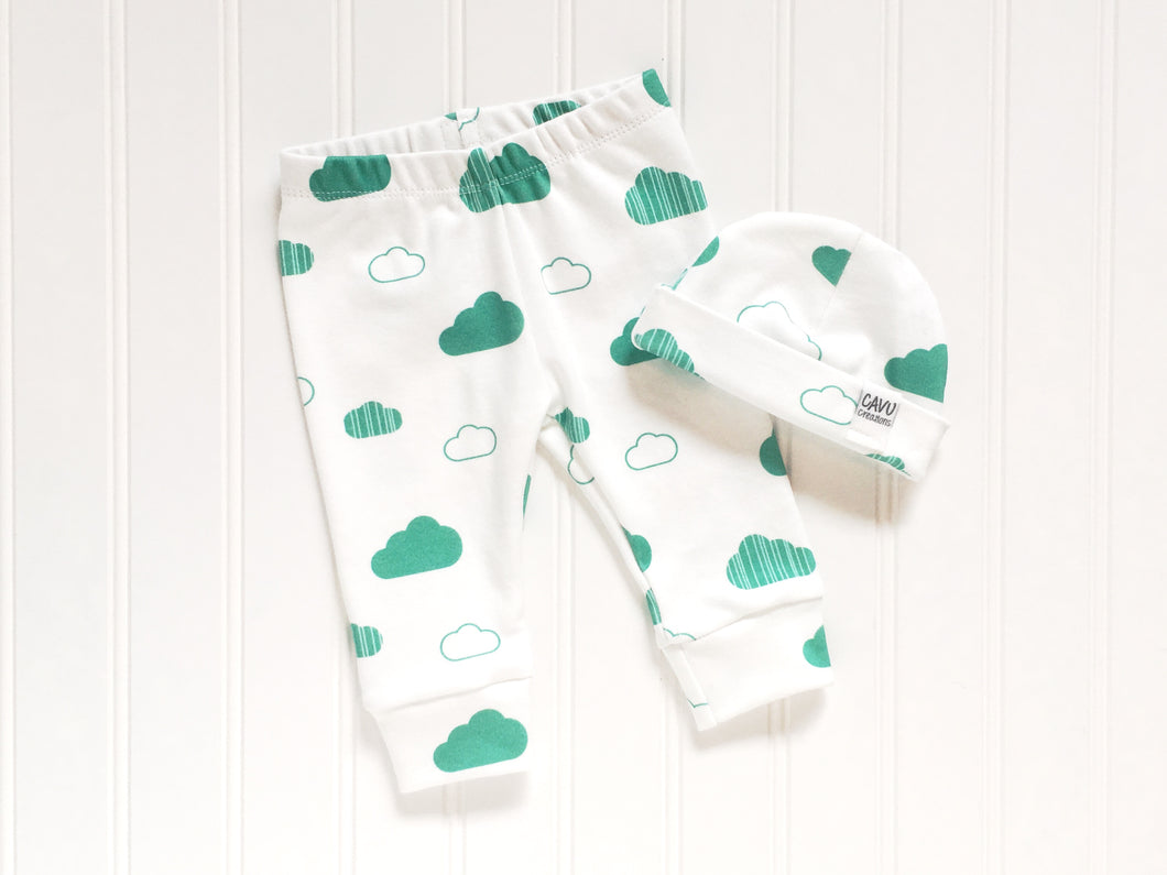 Clouds Organic Baby Leggings - Teal / White - CAVU Creations