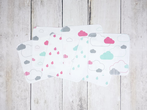 Clouds Organic Reusable Wipes (Set of 6) - Coral Pink / Mint / Gray - CAVU Creations