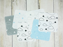 Airplanes in Clouds Organic Reusable Wipes (Set of 6) - Aqua / Gray / Black - CAVU Creations