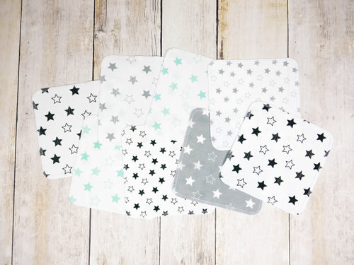 Stars Organic Reusable Wipes (Set of 8) - Mint / Black / Gray - CAVU Creations