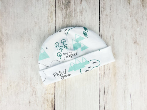PNW Organic Beanie - Mint / Forest Green / Gray - CAVU Creations