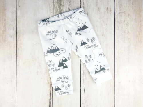 PNW Organic Baby Leggings - Charcoal Gray / White - CAVU Creations