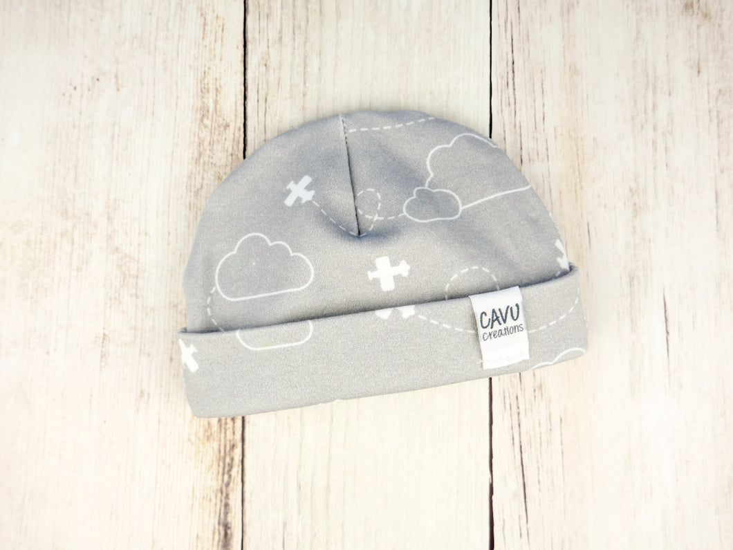Airplanes in Clouds Organic Beanie - White / Gray - CAVU Creations