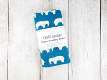 Elephants Organic Swaddling Blanket - Cream / Teal - CAVU Creations